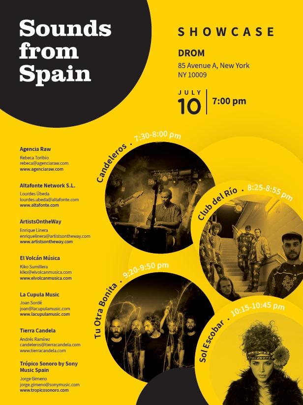 CANDELEROS, CLUB DEL RÍO, SOL ESCOBAR Y TU OTRA BONITA Y VIAJAN A NUEVA YORK CON SOUNDS FROM SPAIN